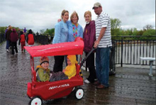 Family with wagon