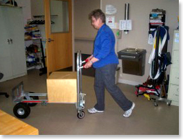 Working using push cart