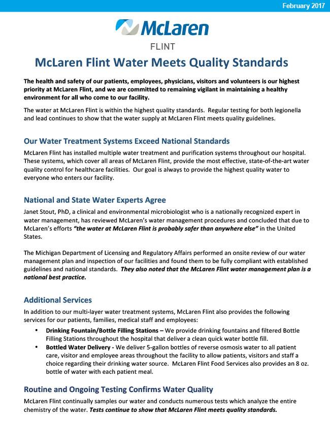 McLaren Flint Water Update