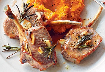 Grilled Lamb Chops on Carrot Purée with Roasted Garlic