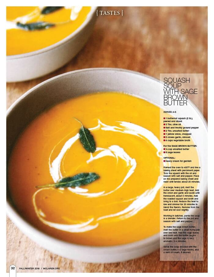Squash Soup with Sage Brown Butter