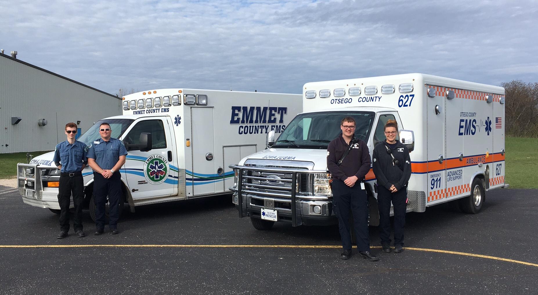 EMS crew and ambulances