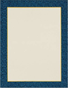 white paper with blue border