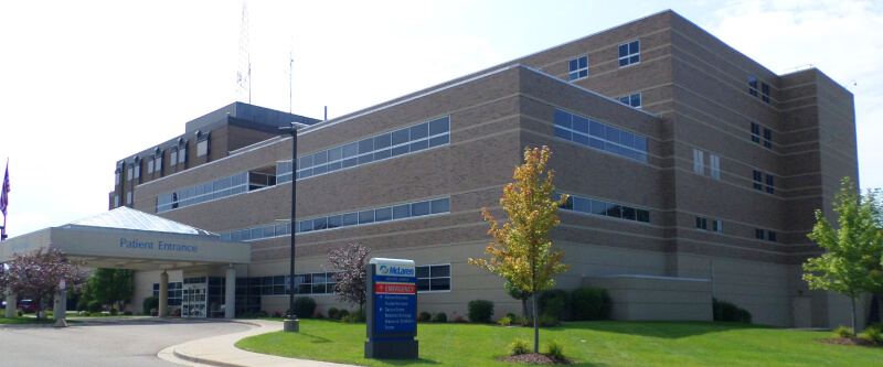 McLaren Greater Lansing hospital located off of South Washington Avenue east of MLK JR Blvd. near East Lansing